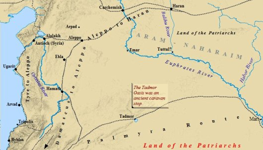 A map of Aram-Naharaim, the land of Abraham's family.