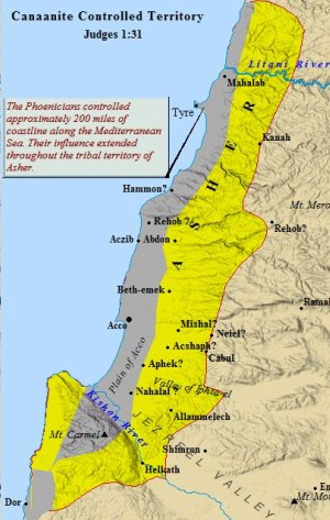Map of Canaanite controlled territory within the tribe of Asher.