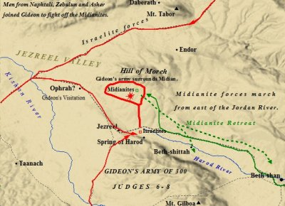 A map of Gideon and the tribe of Asher fighting against the Midianites.