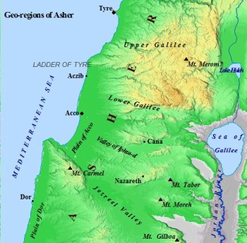 Map of the geographical regions of the tribe of Asher.