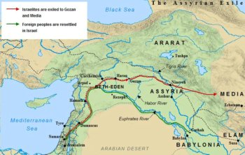 A map of the Israelite exile into Assyria in 721 BC. Foreigners were imported into Israel's northern kingdom, which would later become known as Samaria.