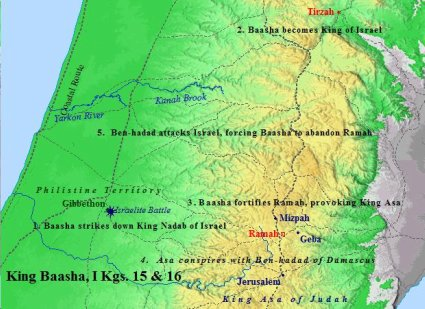 Map of Baasha of Issachar, king of Israel.