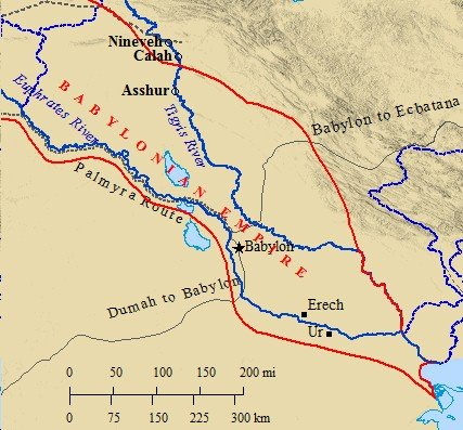 A map of ancient Mesopotamia and the Babylonian Empire.