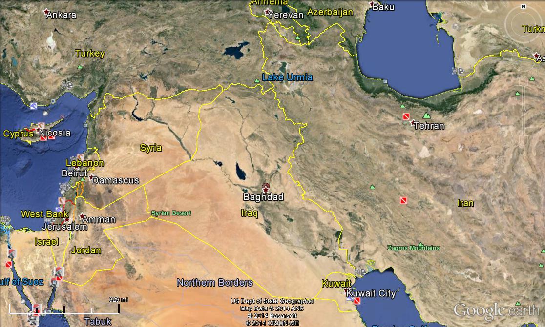 Map of modern Baghdad via Google Earth.