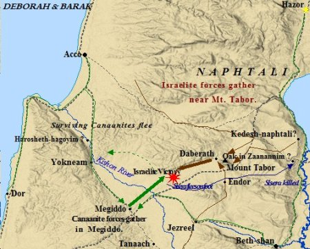 Map of Israelite Judges Deborah and Barak's victory over the Canaanites outside of Megiddo.