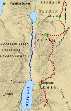 A map of Chederlaomer's conquest of Canaan.