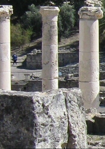 Ancient Columns from a synagogue in Chorazin
