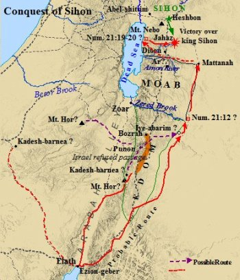 The tribe of Gad and Israel marched on the Amorite king Sihon.