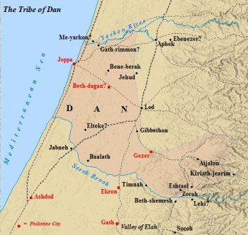 A map of the cities found within the tribe of Dan.