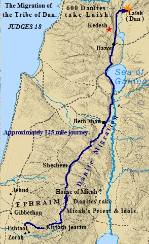 The tribe of Dan migrated from central to northern Canaan, settling near Mt. Herman. Ancient Laish became the city of Dan.