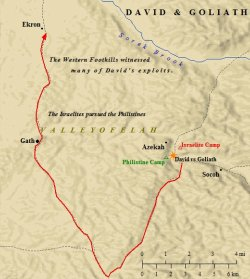 A map of the setting of David and Goliath.