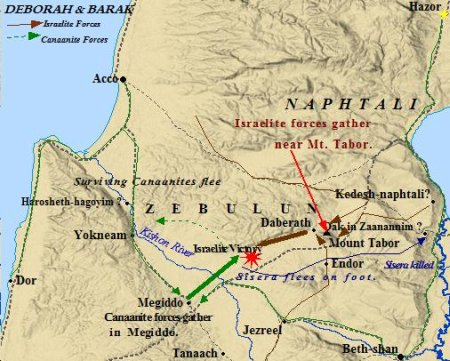 A map of the battle between the Canaanites and Deborah & Barak. Zebulun played a part in the Israelite victory.