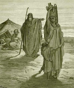 Gustav Dore depicts Abraham casting out Hagar and Ishmael.