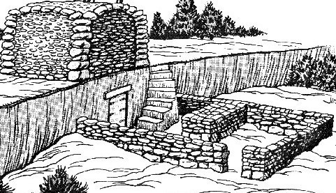 A drawing of the ancient Cave at Machpelah.