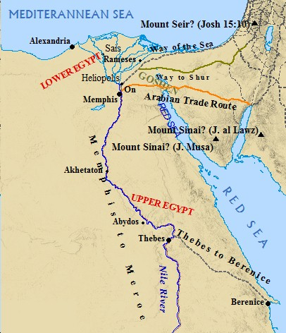 A map of ancient Egypt geography.