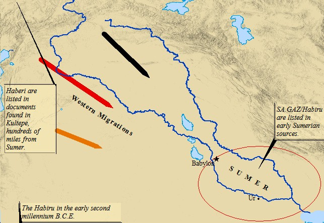 A map of the migration of the Habiru into ancient Sumeria.