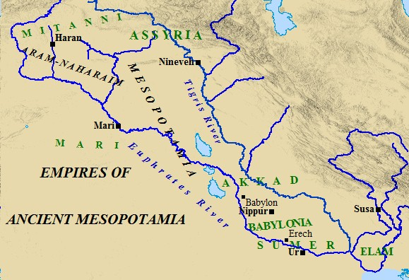 A map of ancient Mesopotamia and the many empires within it.