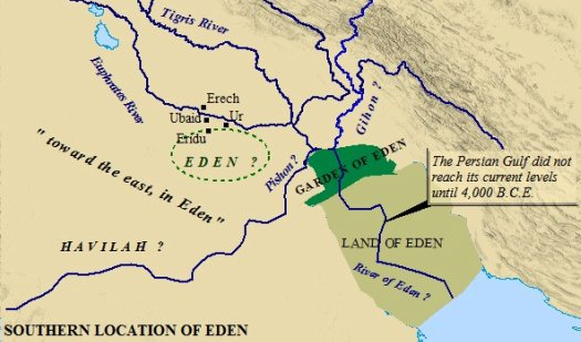 One possible location of the Garden of Eden is in southern Mesopotamia, at the mouth of the Persian Gulf.