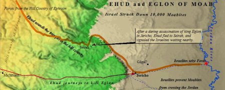 Ehud, from the tribe of Benjamin, slays Eglon