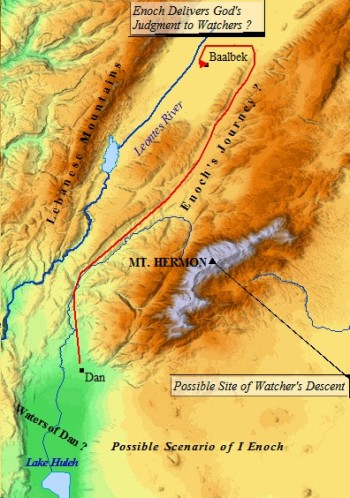 A map of Dan and Mt. Herman, the second home of the tribe of Dan.