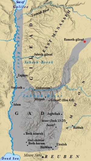 A map of the cities of Gad.