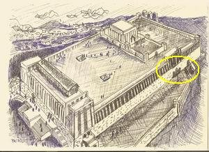 A drawing of the Golden Gate and the Temple during the time of Solomon.