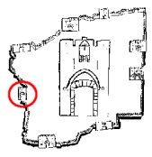 A map identifying the location of the Jaffa Gate  amongst the gates of Jerusalem.
