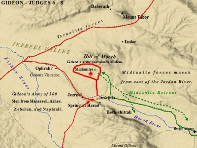 A map of Gideon and his battle with the Midianites.