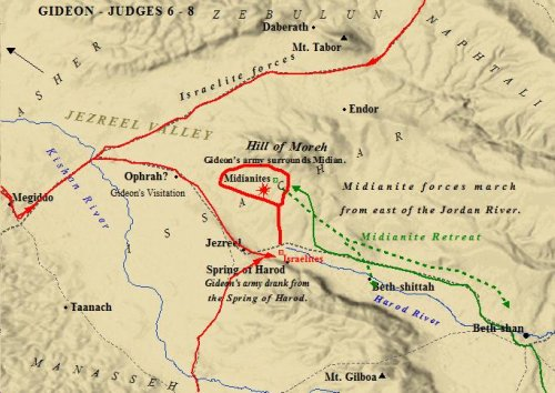 A map of Gideon's battle and deliverance of Israel.