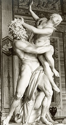 A sculpture of the Greek gods Hades and Persephone.