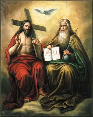 God the Father, God the Son, and God the Holy Spirit are represented in this painting.