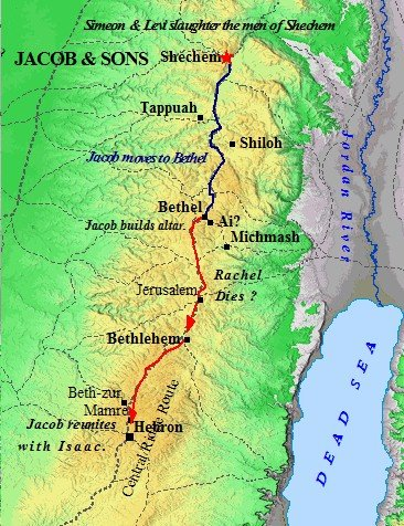 Map of Jacob's movements in Canaan.