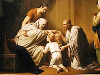 Jacob blesses his grandchildren, Ephraim and Manasseh, the two sons of Joseph.