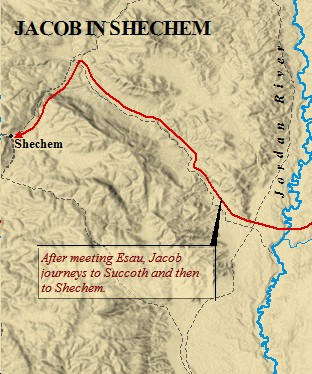 A map of Jacob entering Canaan.