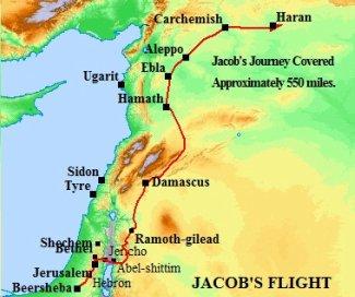 A map of Jacob's journey to Aram-naharaim to escape Esau's wrath.