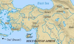 Japheth's descendants settled primarily in Turkey, eventually migrating to Europe.