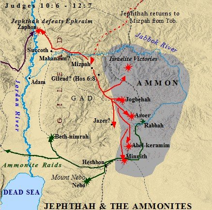 Jephthah crossed the Jordan and scored multiple victories in Ammon.