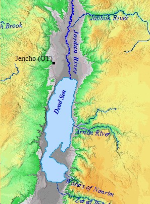 Ancient Jericho - World map jordan river