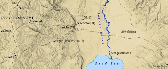 A map of early Jericho and its nearby towns.