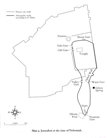 Map of Ancient Jerusalem during the time of Nehemiah