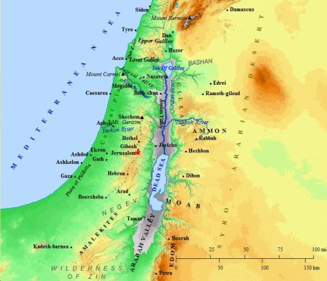 A map of the geography of Canaan, including the area around ancient Jerusalem.