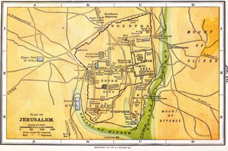 A book map of ancient Jerusalem.