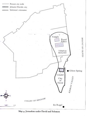 A map of ancient Jerusalem under Kings David & Solomon.