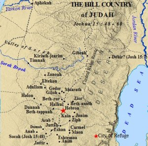 A map of the cities within the tribe of Judah's hill country. Hebron was a chief city of Judah.