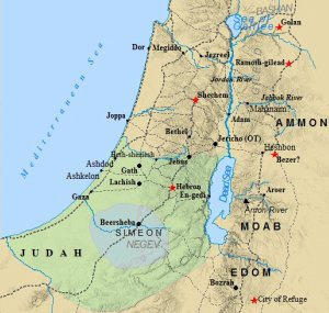 A map of the tribe of Judah and its cities.