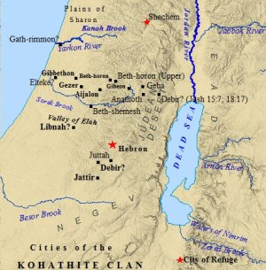 A map of cities belonging to the tribe of Levi.