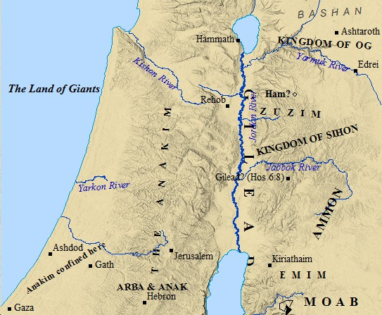 A map of the Nephilim in ancient Canaan.