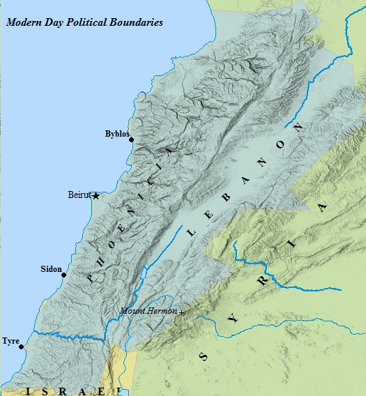 A map of Lebanon and modern day neighbors.