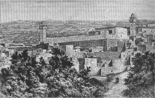 The Cave at Machpelah, or Tomb of the Patriarchs as it appeared in 1840 AD.