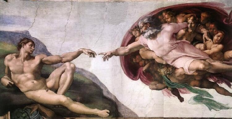 Michaelangelo painst the creation of Adam by God.